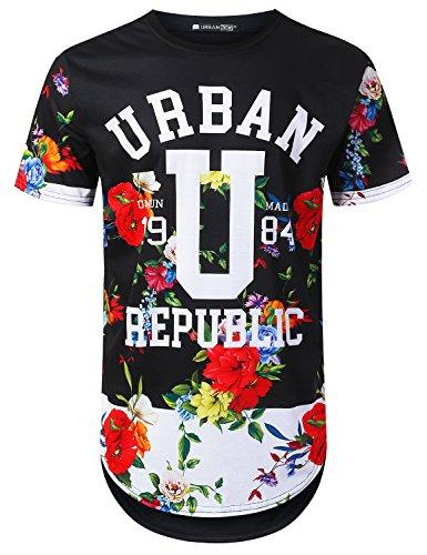 URBANCREWS Mens Hipster Hip Hop Urban 1984 Graphic Longline T-Shirt Black, M - 1984 Black T-shirt