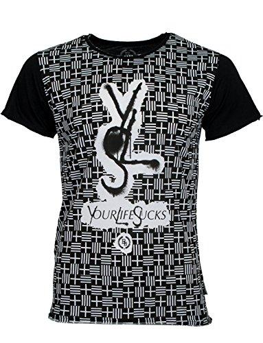 BOOM BAP WEAR -  T-shirt - Collo a U  - Uomo Nero XS