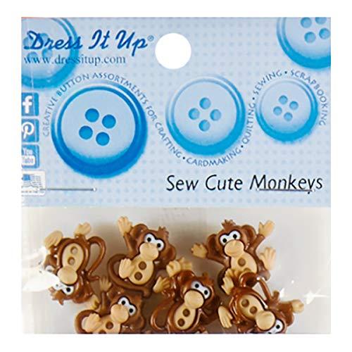 Sew Cute Monkey 8ct Button - Monkey Button