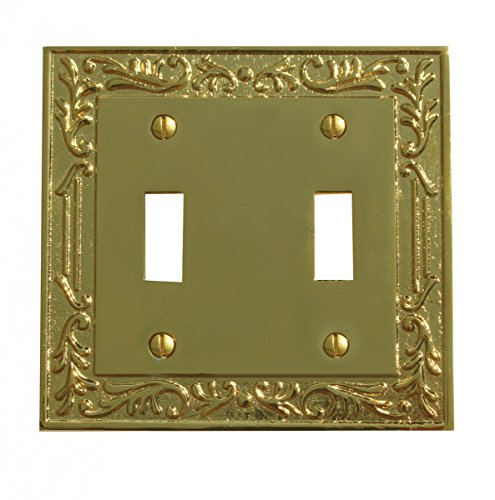 Victorian Switch Plate Double Toggle PVD Solid Brass | Renovator's (Brass Victorian Switchplate)