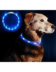 LED Leuchthalsband Hunde Halsband - Anicoll USB wiederaufladbar - Längenverstellbarer Haustier Sicherheit Kragen für Hunde und Katzen- 3 Modus 12 Lichte (Lila)