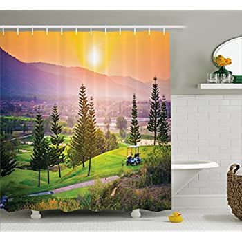 Farm House Decor Shower Curtain By Ambesonne, Vibrant Golf Resort Park In  Spring Season With Trees Sunset Hills And Valley, Fabric Bathroom Decor Set  With ...