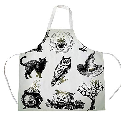 Vintage Halloween 3D Printed Cotton Linen Apron,Halloween Related Pictures Drawn by Hand Raven Owl Spider Black Cat Decorative,for Cooking Baking Gardening,Black -