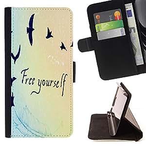 ForSamsung Galaxy S3 MINI i8190 (NOT S3) Case , Cita Birds Azul Luz Colores- la tarjeta de Crédito Slots PU Funda de cuero Monedero caso cubierta de piel