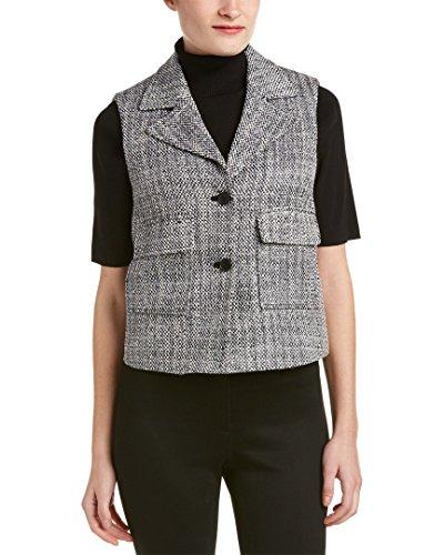 Anne Klein Women's 2 Button Tweed Vest, Black/Combo, 2