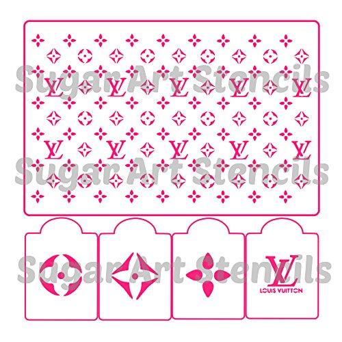 Designer cake stencil LV5 pieces for handbag cakes