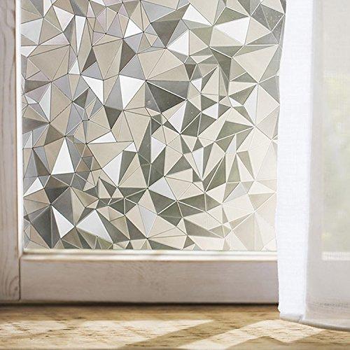 "Coavas 3D Window Film Privacy Window Decor Anti-UV Glass Film Transparent Window Sticker 17.7"" x 78.7""-132DH"