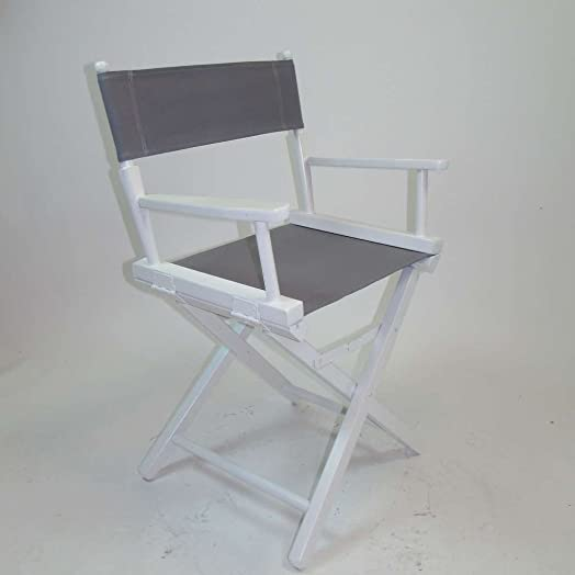 Gold Medal Contemporary 18 Table Height White Frame Directors Chair – Grey