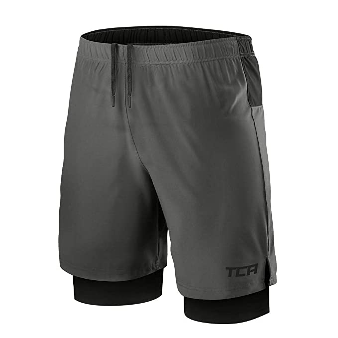competitive price f58e4 8ec54 TCA Mens Ultra 2 in 1 Running Shorts with Inner Compression Short and Zip  Pocket -