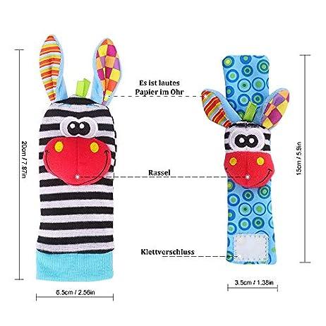 Baby Rattle Neonato Sonagli Calzini da Polso a Sonaglio per Bambini, Simpatici Animaletti Developmental Soft Toys… Abbigliamento Baby Rattle 7