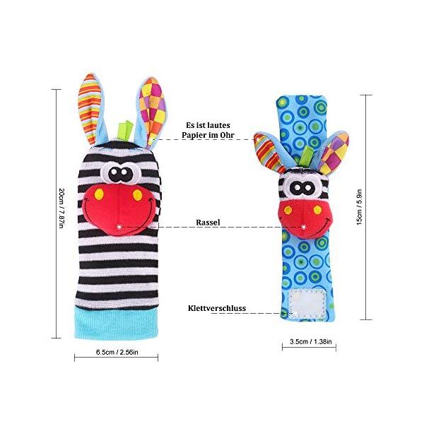 Baby Rattle Neonato Sonagli Calzini da Polso a Sonaglio per Bambini, Simpatici Animaletti Developmental Soft Toys… 6