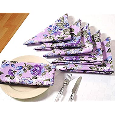 Floral Cotton Dinner Napkins - 20  x 20  - Set of 6 Premium Table Linens for the Dining Room - Lavender, Blue and Purple Rose