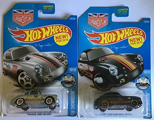 Hot Wheels 2016 Magnus Walker's Silver 356A Porsche Outlaw Black and Silver 2-Car Set