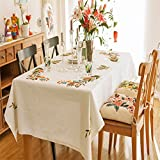 Ethomes farmhouse style handemade embroidery flower cotton fabric tablecloths approx 90 x 59 inch