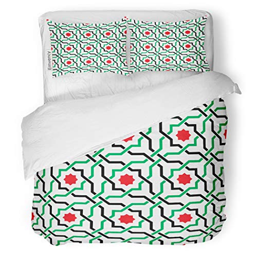 (SanChic Duvet Cover Set Green of Geometric Pattern in UAE Flag Decorative Bedding Set with 2 Pillow Cases King Size)