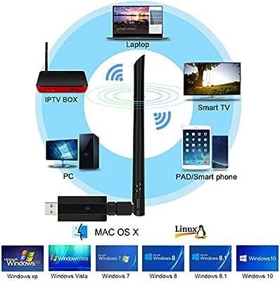 EZCAST Adaptador WiFi USB Inal/ámbrico 1200Mbps 5G//2.5G AC WiFi Dongle para Computadora Port/átil de Escritorio Soporte Windows XP//7//8//10 Linux 2.6X Mac OS