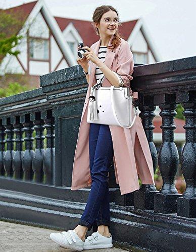 NICOLE&DORIS Moda Bolsa de Hombro Para Mujer Crossbody Totes Mensajero Suave PU Blanco Blanco