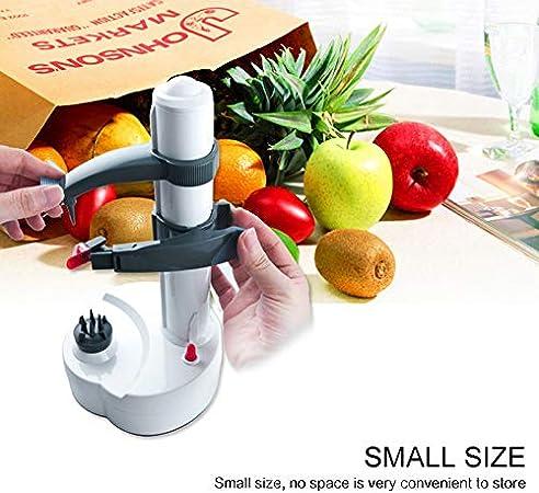 Peladora de patatas el/éctrica autom/ática M/áquina de pelado de frutas vegetales giratoria autom/ática con 6 cuchillas reemplazables Herramienta de pelado de cocina