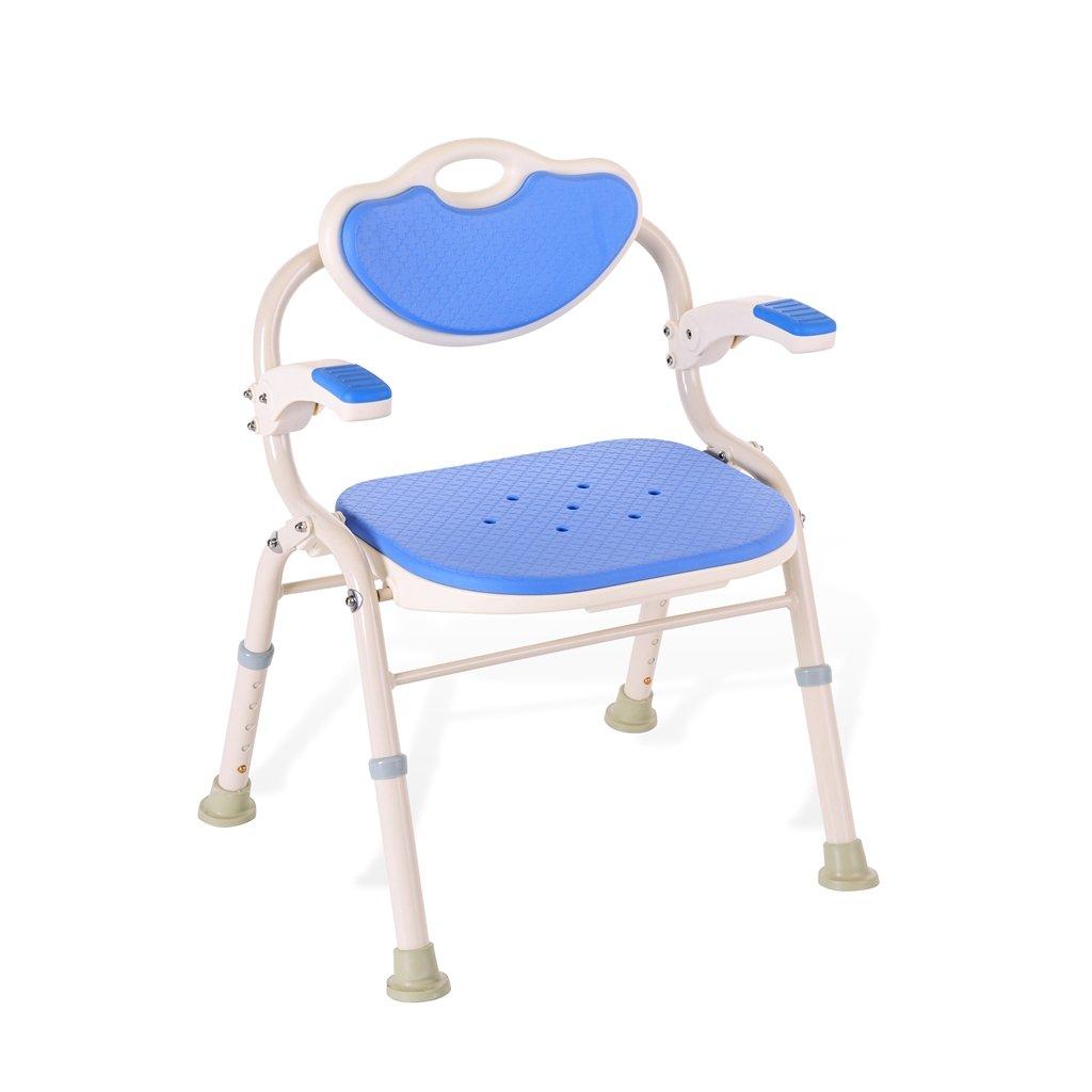 シャワー/バススツールアルミ合金シャワー座席椅子障害援助ノンスリップシャワーチェア背もたれとハンドルバスベンチ(ブルー)を持つ高齢者/障害者/妊婦のための5つの高さで調整可能 B07F3Z3RYX