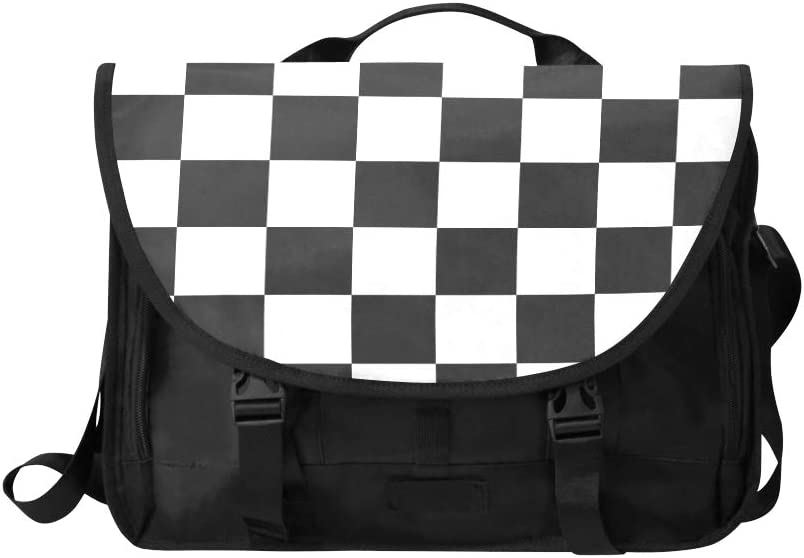 Womans Traveling Bag Black and White Lattices Multi-Functional Travel Bags Shoulder Fit for 15 Inch Computer Notebook MacBook