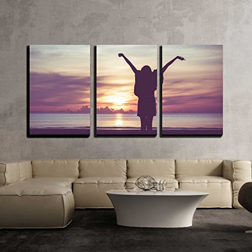 "Wall26 - 3 Piece Canvas Wall Art - Woman Spreading Hands with Joy and Inspiration at Sunrise. - Modern Home Decor Stretched and Framed Ready to Hang - 24""x36""x3 Panels"