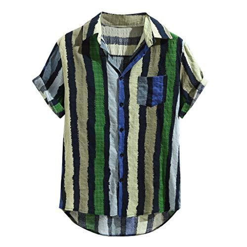 - WANQUIY Men's Workwear Pocket Short Sleeve T-Shirt Stripe Crewneck T-Shirts Top Green
