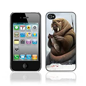 Designer Depo Hard Protection Case for Apple iPhone 4 4S / Walrus Warrior & Fish