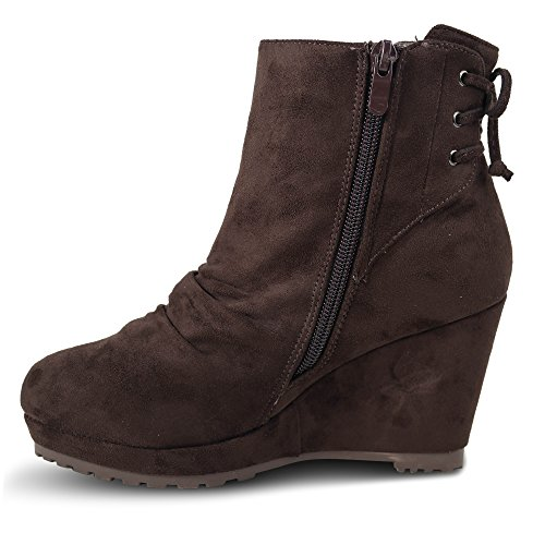 Damen Stiefeletten mit Keilabsatz Boots Stiefel High Heels ST875 Braun