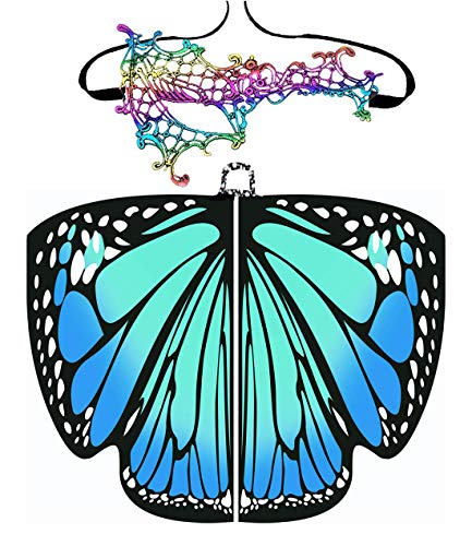 Halloween/Party Prop Soft Fabric Butterfly Wings Shawl Fairy Ladies Nymph Pixie Costume Accessory (168x135CM, Blue) -