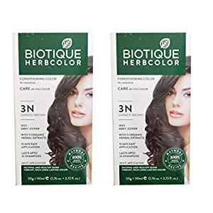Biotique Herbcolor Conditioning Darkest Brown Hair Color with 9 Organic Herbal Extracts (No 3 N Darkest Brown, 50 gm…
