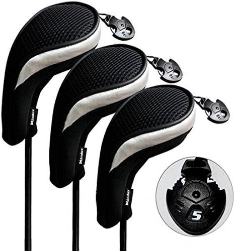 Andux Golfschlägerhauben mit austauschbarer Nr. Anhänger 3 Stück