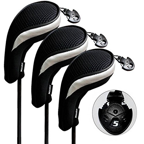 Andux 3 Pack Golf Hybrid Club Head Covers Interchangeable No. Tag Mt/hy06 Black & Silver