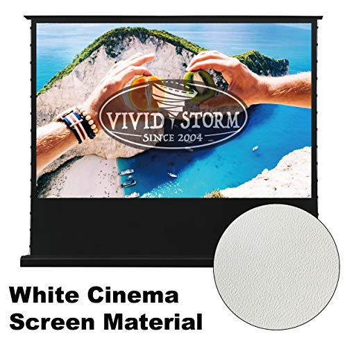(VIVIDSTORM 4K Motorized Portable/Stand/Floor-Rising Projection Screen,Electric Tab-tensioned Floor Screen,92inch Diag 16:9, White Cinema Screen Material, Wireless 12V Projector Trigger, VLDDSTW92H)