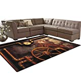 Industrial,Carpet,Steam Pipes and Pressure Gauger Vintage Style Damaged Timeworn Engine,Indoor/Outdoor Area Rug,Bronze Dark Orange Size:5'x6'