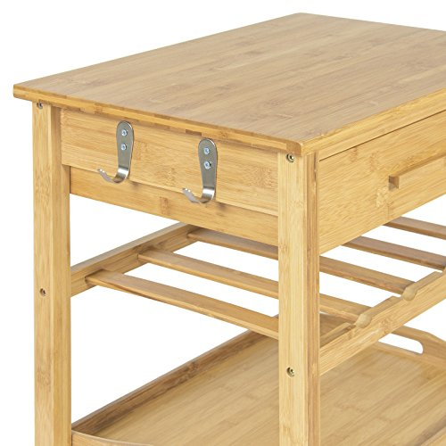 Eight24hours Rolling Wood Kitchen Storage Cart Rack With Drawer & Shelves Home Furniture by Eight24hours (Image #5)