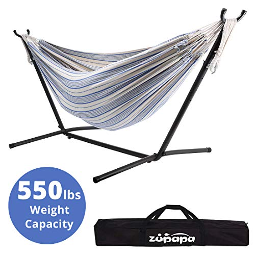 Zupapa Space Saving Hammock Stand Set, Heavy Duty 550LBS Capacity Accommodates 2 People Hammock and Frame, Portable with Carry Bag for Outdoor Indoor Use - Bubble Fantasy