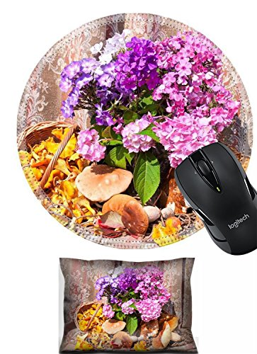 Liili Mouse Wrist Rest and Round Mousepad Set, 2pc Wrist support rest IMAGE ID: 22026772 phlox bouquet with chanterelles and boletus edulis mushrooms still life
