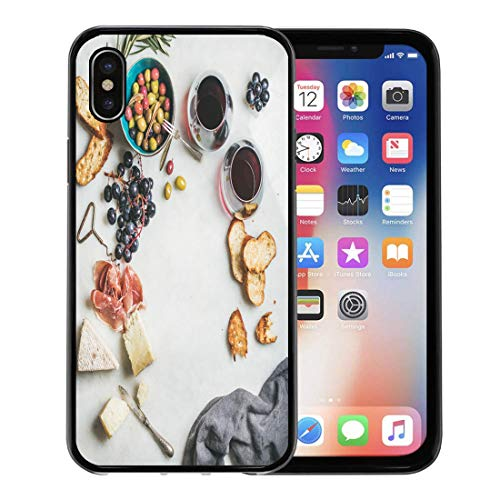 Emvency Phone Case for Apple iPhone Xs Case/iPhone X Case,Wine and Snack Variety of Cheese Olives in Ceramic Soft Rubber Border Decorative, Black