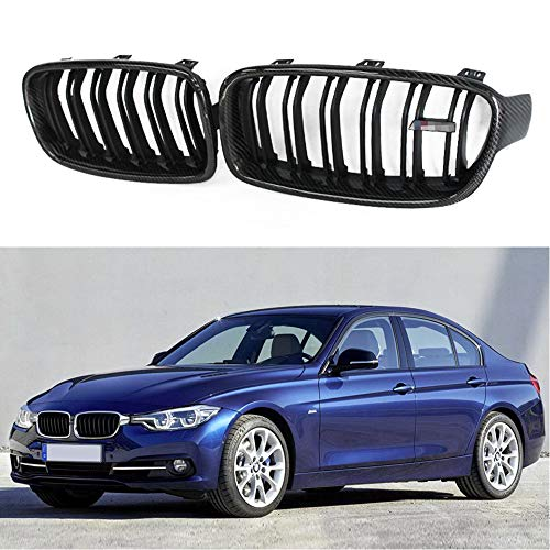 Fandixin F30 Grille, Carbon Fiber M3 Style Front Kidney Grill Front Bumper Hood Grill for BMW 3 Series F30 F31 4-Door Sedan Gloss Black ()