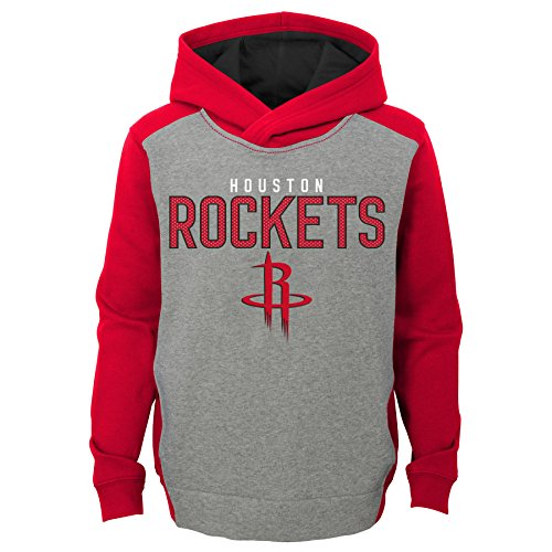 "NBA Kids & Youth Boys ""Fadeaway"" Pullover Hoodie Houston Rockets-Grey Heather-M(5-6)"