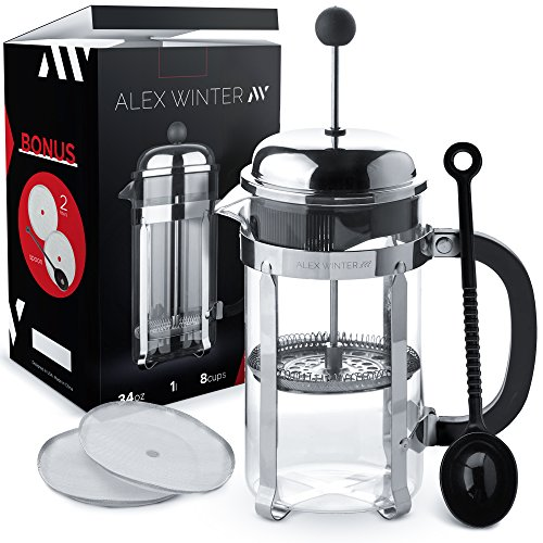Alex Winter French Press Coffee Maker – Glass, Stainless Steel Press with Additional Top Filter, Spoon, 2 Extra Bonus Filters, 34 oz, 1 litre, Device – for the Coffee, Tea, Cacao, Berry Drinks