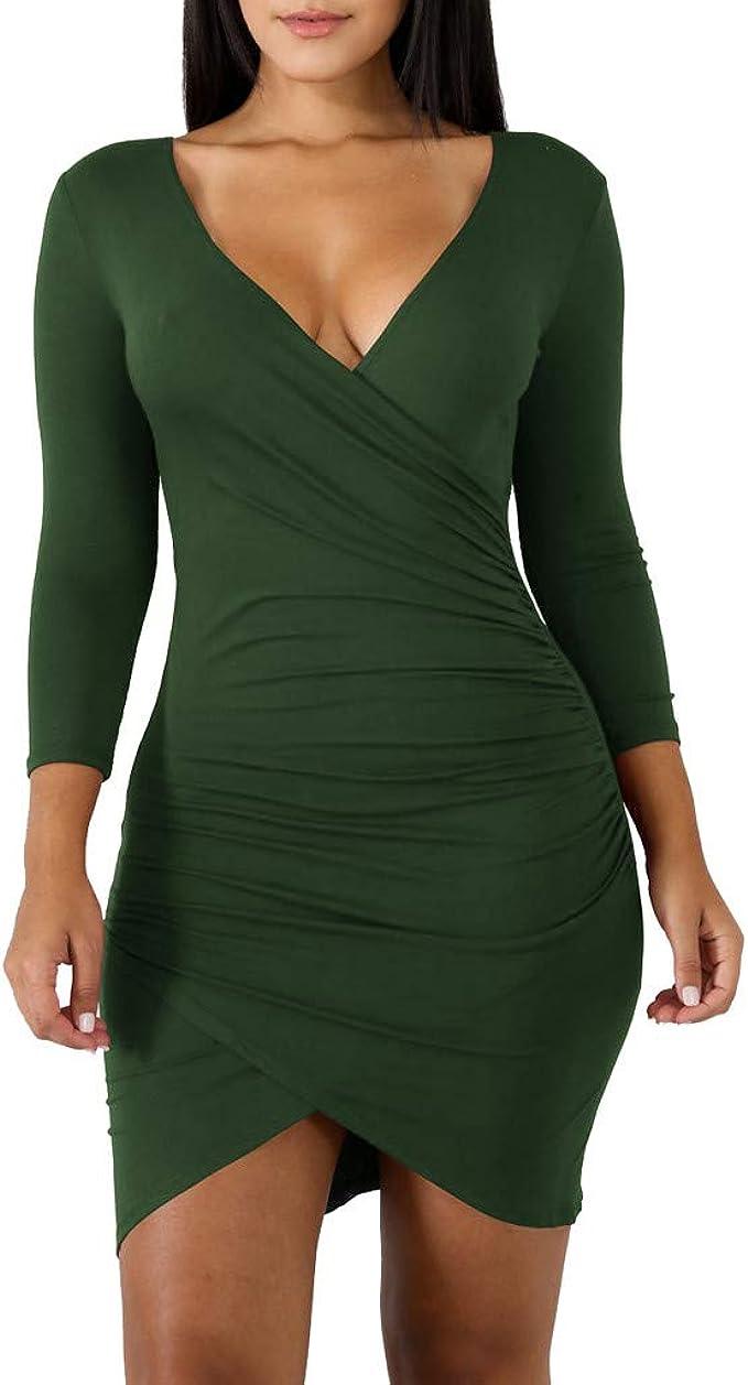 Vectry Damen-Kleid, modisch, langärmlig, V-Ausschnitt, Partykleid