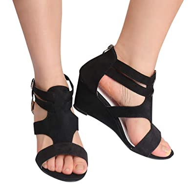 5f8088497c0 2019 Women Sandals Summer Wedges Ladies Retro Casual Shoes Strap Gladiator  Roman Sandals by Vovotrade Black