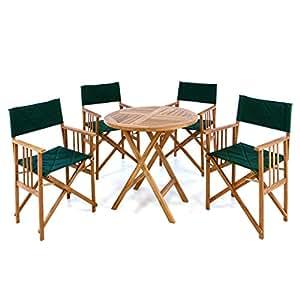 Divero–5piezas muebles de jardín Conjunto de jardín de mesa Diámetro 80cm de director–Silla con reposabrazos silla plegable (Madera silla de jardín silla plástico tratadas teca extraíble lavable verde ahorra espacio