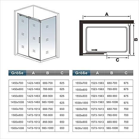 130x195cm Mamparas de ducha puerta de ducha 6mm vidrio templado de Aica