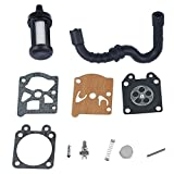Savior Carburetor Rebuild Kit + Fuel Filter + Fuel Line for Stihl 017 018 MS170 MS180 Chainsaw with Walbro Carb
