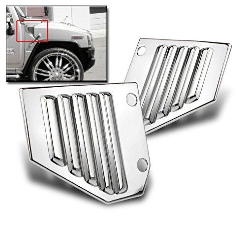 ZMAUTOPARTS Hummer H2 Side Vent Cover Chrome Hood Intake Bezel Moulding Trim Sport Set