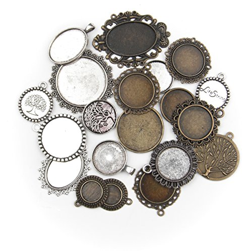 ALL in ONE 20pcs Mixed Cabochon Frame Setting Tray Pendant for DIY Jewelry Making (MIX)