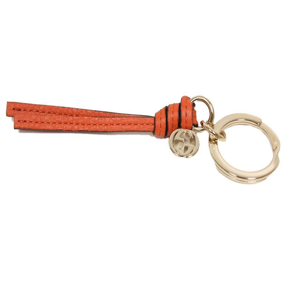 Gucci Orange Leather Charm Key Ring 324403