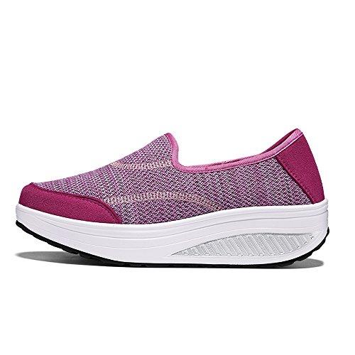 Enllerviid Mujeres Plataforma Slip-on Zapatos Para Caminar Forma Ups Fitness Tonificación Work Out Sneakers Rose